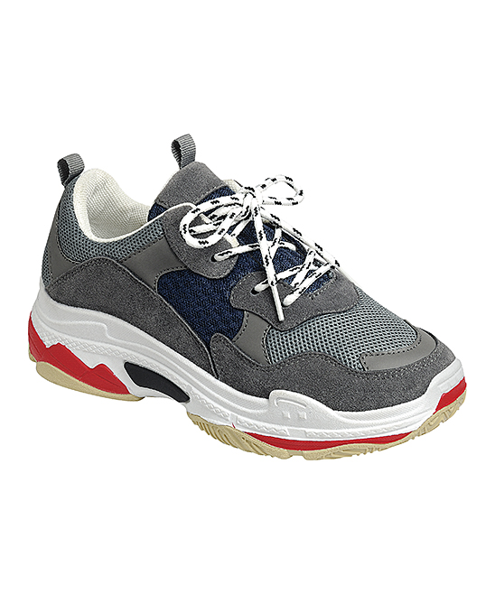 Forever Link Shoes Women's Sneakers NAVY/GREY - Navy & Gray Color Block Sneaker - Women
