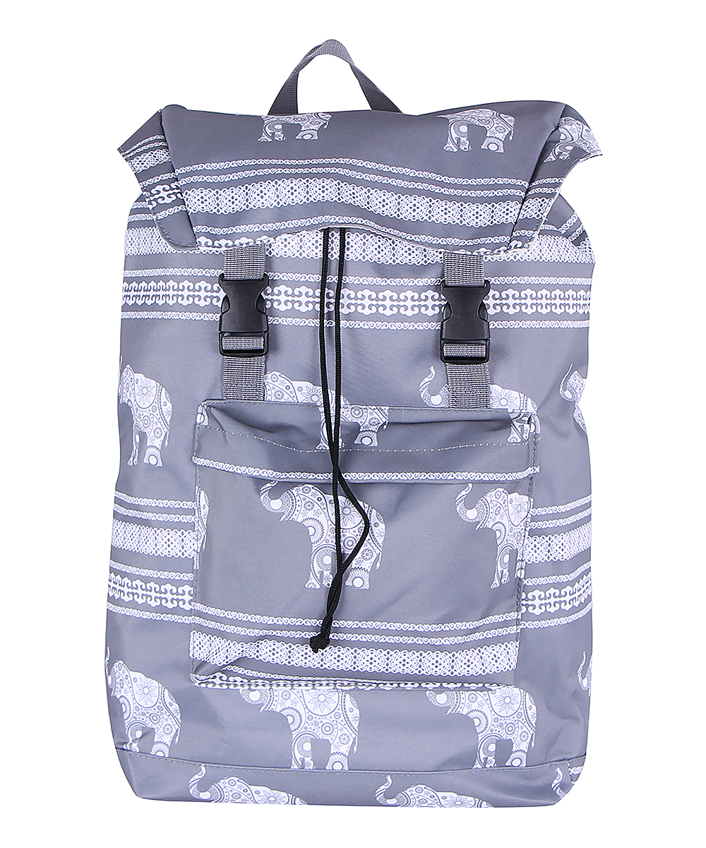 Charcoal Elephants Two-Pocket Backpack Charcoal Elephants Two-Pocket Backpack. Students keep their class essentials at hand with the simple pack-up potential of this lightweight backpack. 13'' W x 18'' H x 5'' D300D polyesterOne buckle-up main pocketTwo front pocketsTwo side pocketsSpot cleanImported