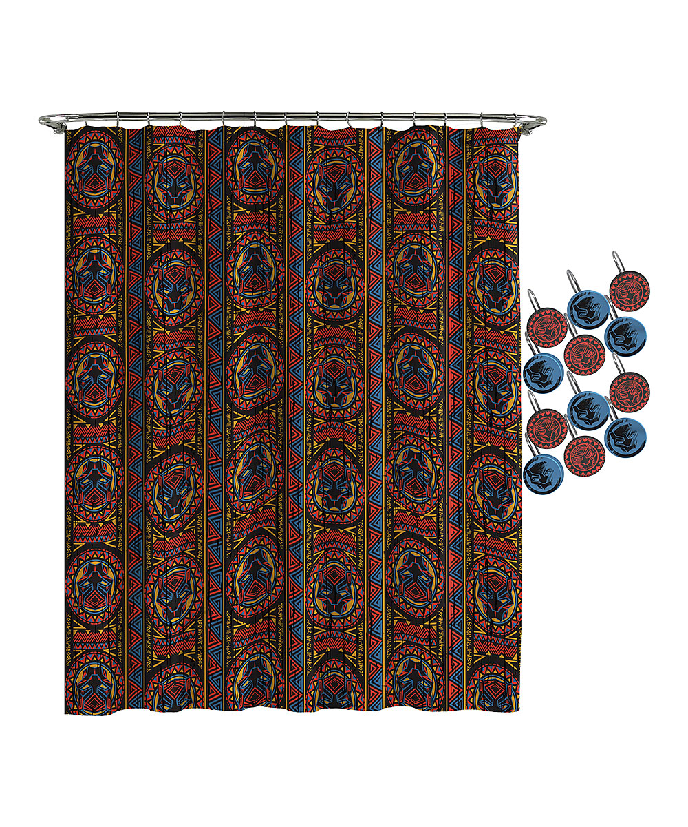 Love This Product Black Panther Red Blue Geometric Shower Curtain Hooks
