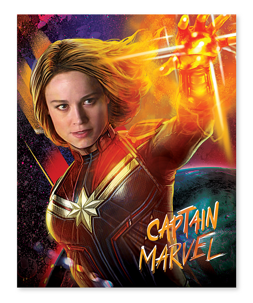 Artissimo Designs Captain Marvel Orange & Red Universe Burst Wrapped Canvas