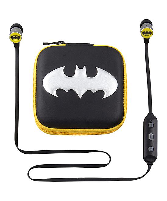 KIDdesigns  Wired Headphones  - Batman Black & Yellow Bluetooth Earbuds
