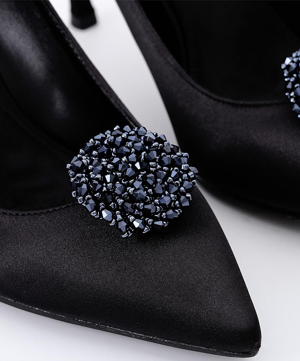 dda2679b1af8d IngeSight.Z Navy Beaded Round Flower Shoe Charm - Set of Two