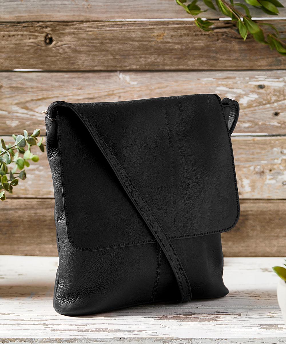 LeDonne Black Simple Flap-Over Leather Crossbody Bag