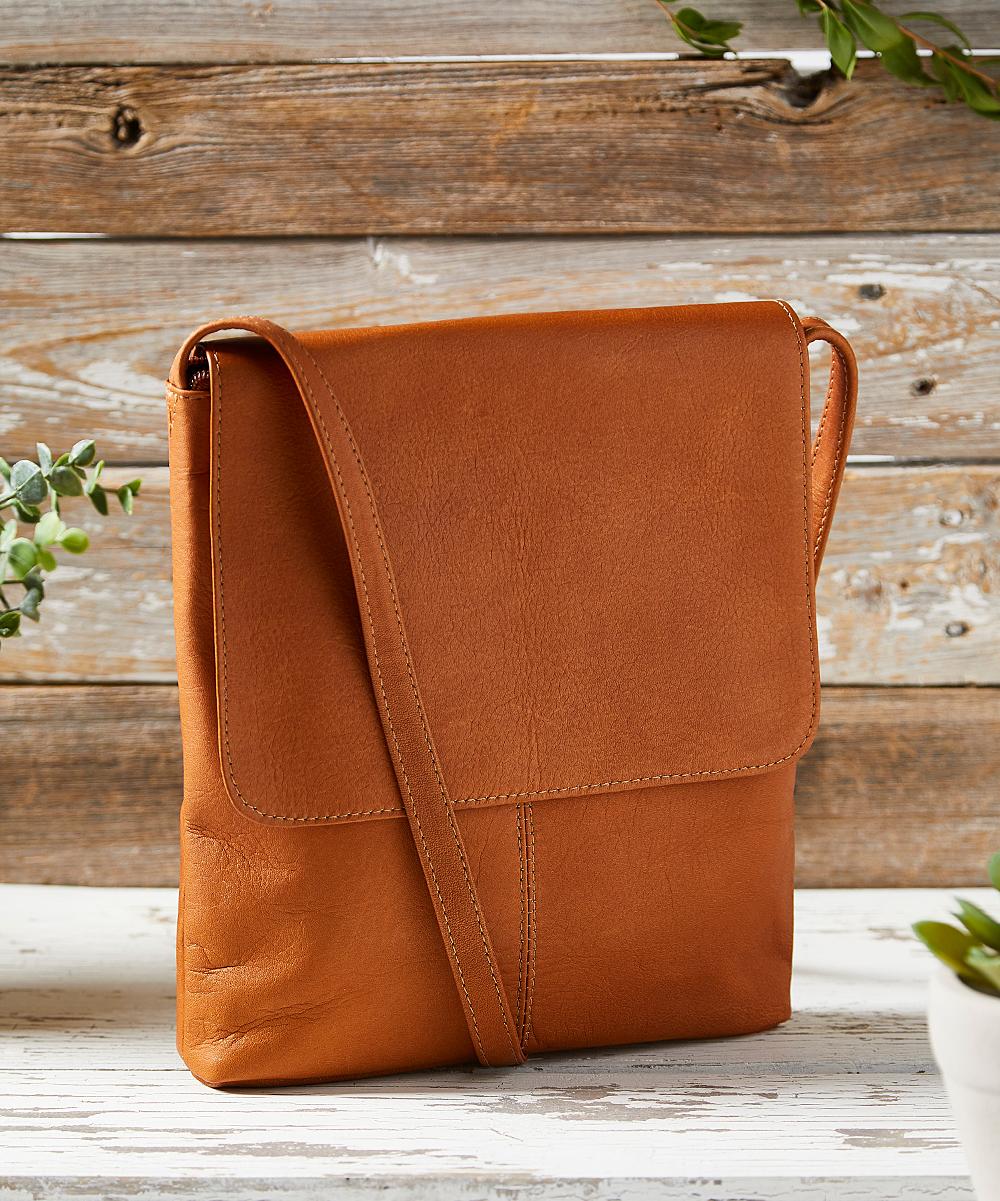 LeDonne Tan Simple Flap-Over Leather Crossbody Bag