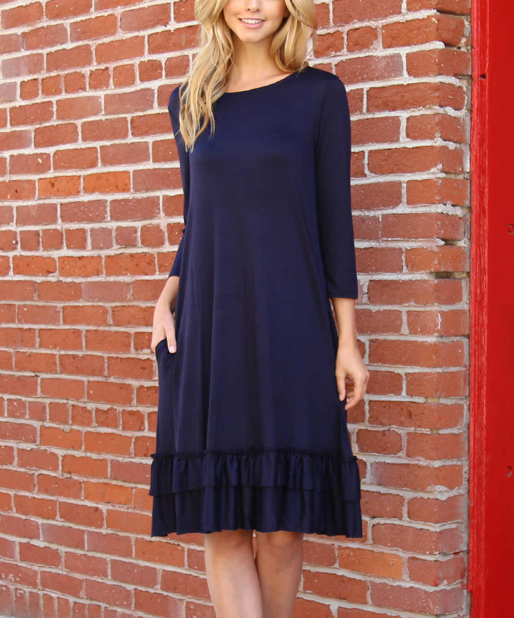 e9c192b28ebb Riah Fashion Navy Long-Sleeve Ruffle-Hem Shift Dress - Women | Zulily