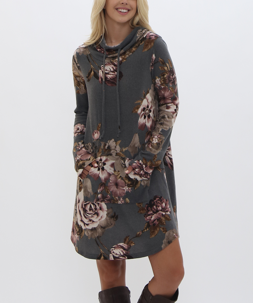 2 Pineapples Women's Casual Dresses CHARCOAL - Charcoal Floral Front Pocket Mini Dress - Women
