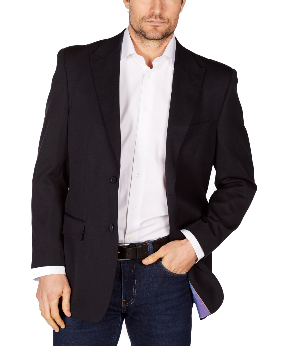 Navy Wool Blazer - Men Navy Wool Blazer - Men. Update his eveningwear wardrobe with sleek and classic fashion courtesy of this wool blazer.100% woolDry cleanImported