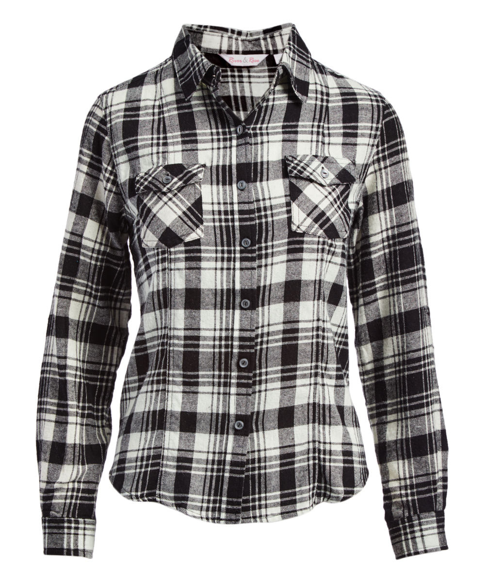 03c228e5addacd River & Rose Black & White Plaid Flannel Button-Up - Women | Zulily