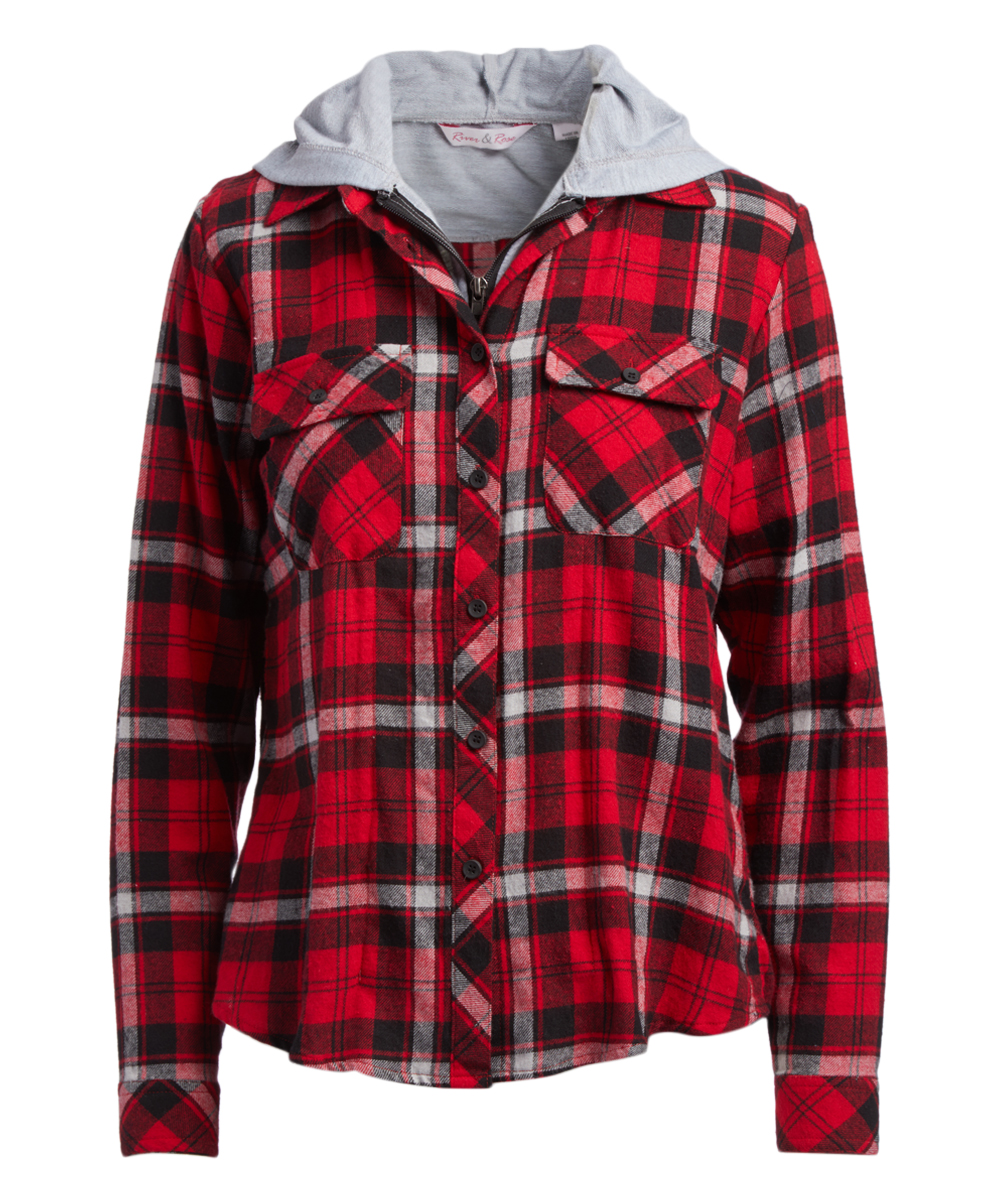 17c883f965f40 River   Rose Red   Black Plaid Flannel Hooded Button-Up - Women