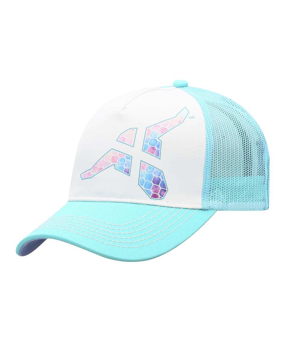 3c17d39c99ec9 Wrangler White   Blue Water Color Five-Panel Trucker Hat