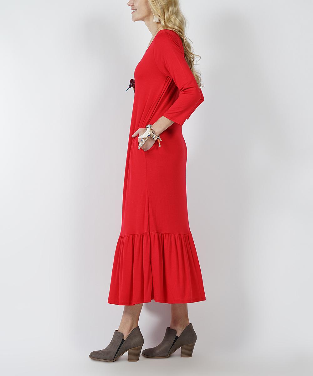 8de5f93608e Ruby Three-Quarter Sleeve Ruffle-Hem Pocket Maxi Dress - Women