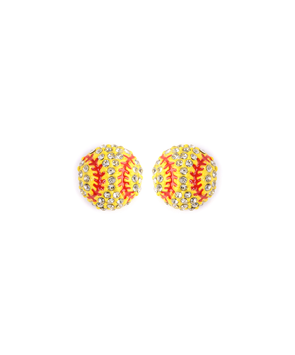 Yellow Baseball Stud Earrings Yellow Baseball Stud Earrings. Take your ensemble out to the ball game when you don these baseball stud earrings.  2'' W x 2'' HAcrylic / glassImported