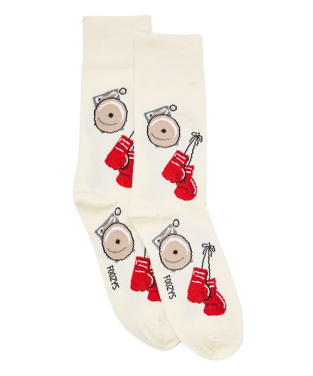 White Boxing Gloves Socks - Men White Boxing Gloves Socks - Men. Playfully complement his ensembles with this pair of personality-packed socks. Fits shoe sizes 8 to 1288% polyester / 10% nylon / 2% spandexMachine wash; tumble dryImported