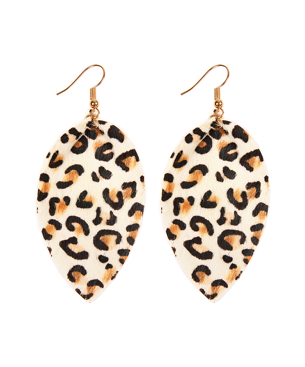White Leopard Leather Drop Earrings White Leopard Leather Drop Earrings. Genuine leather grace these oval-shaped drop earrings. A vibrant leopard print adds a fashion-forward flair to your ensemble. 1.5'' W x 3'' HLeatherImported