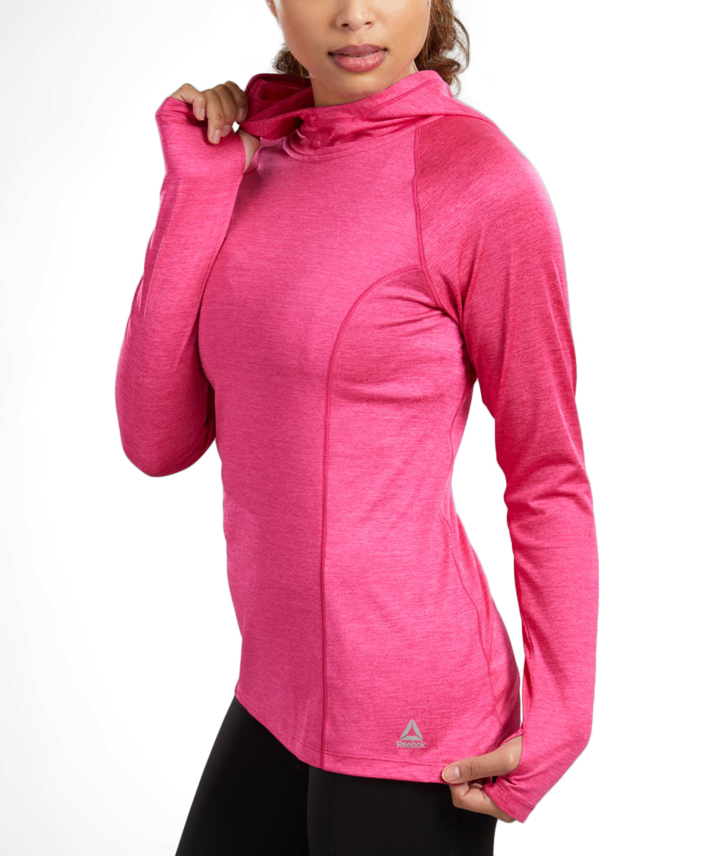 682f6a5b53 Reebok Pink Peacock Heather Rival Hoodie - Women