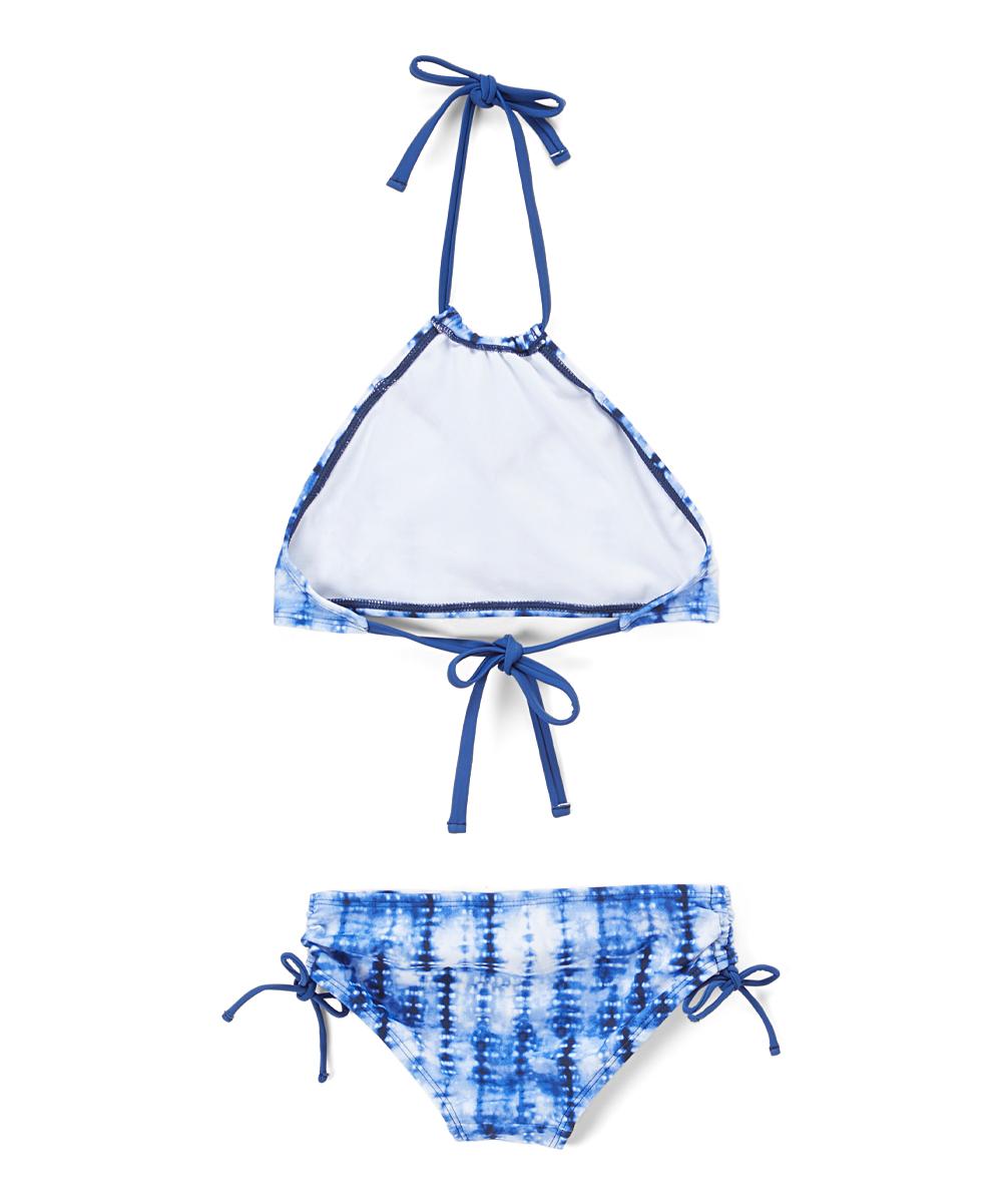 1431c71bf710f Kanu Surf Navy Willow Tie-Dye Ruffle Halter Bikini - Toddler & Girls ...