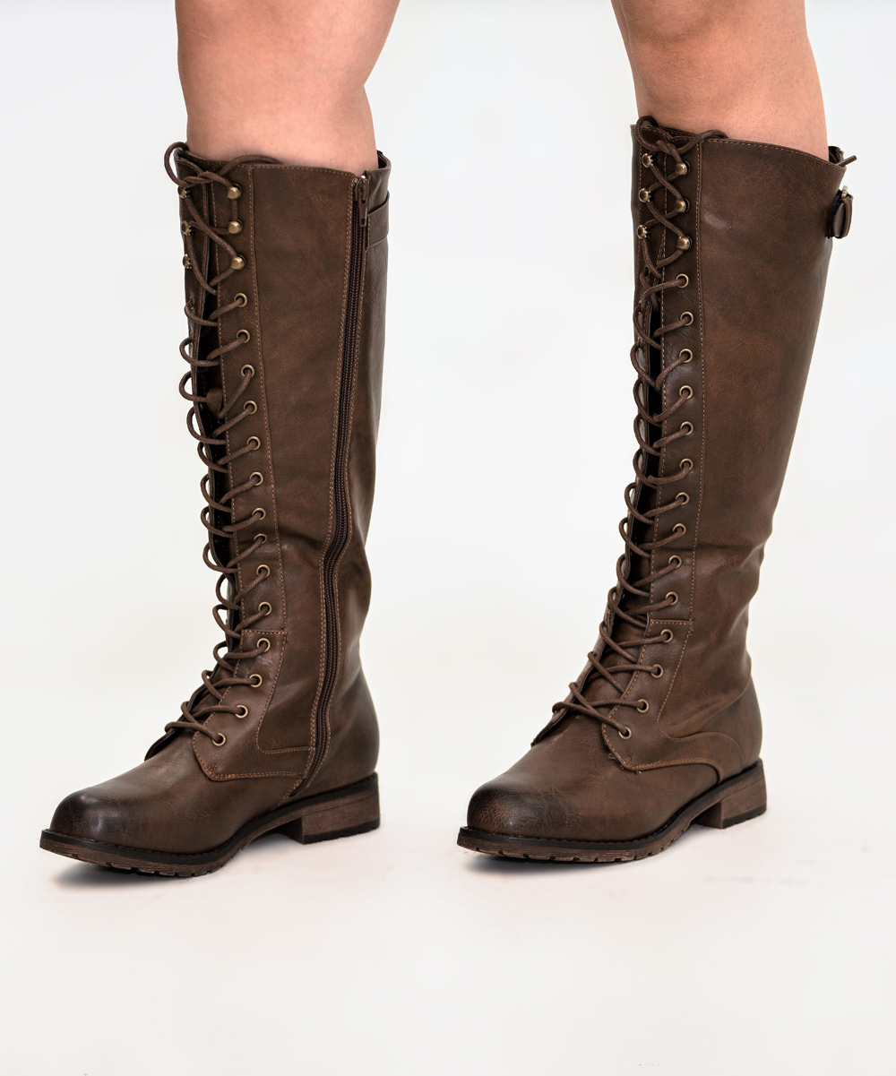 Mata Shoes Women's Casual boots BROWN - Brown Lace-Up Front Ride Knee-High Boot