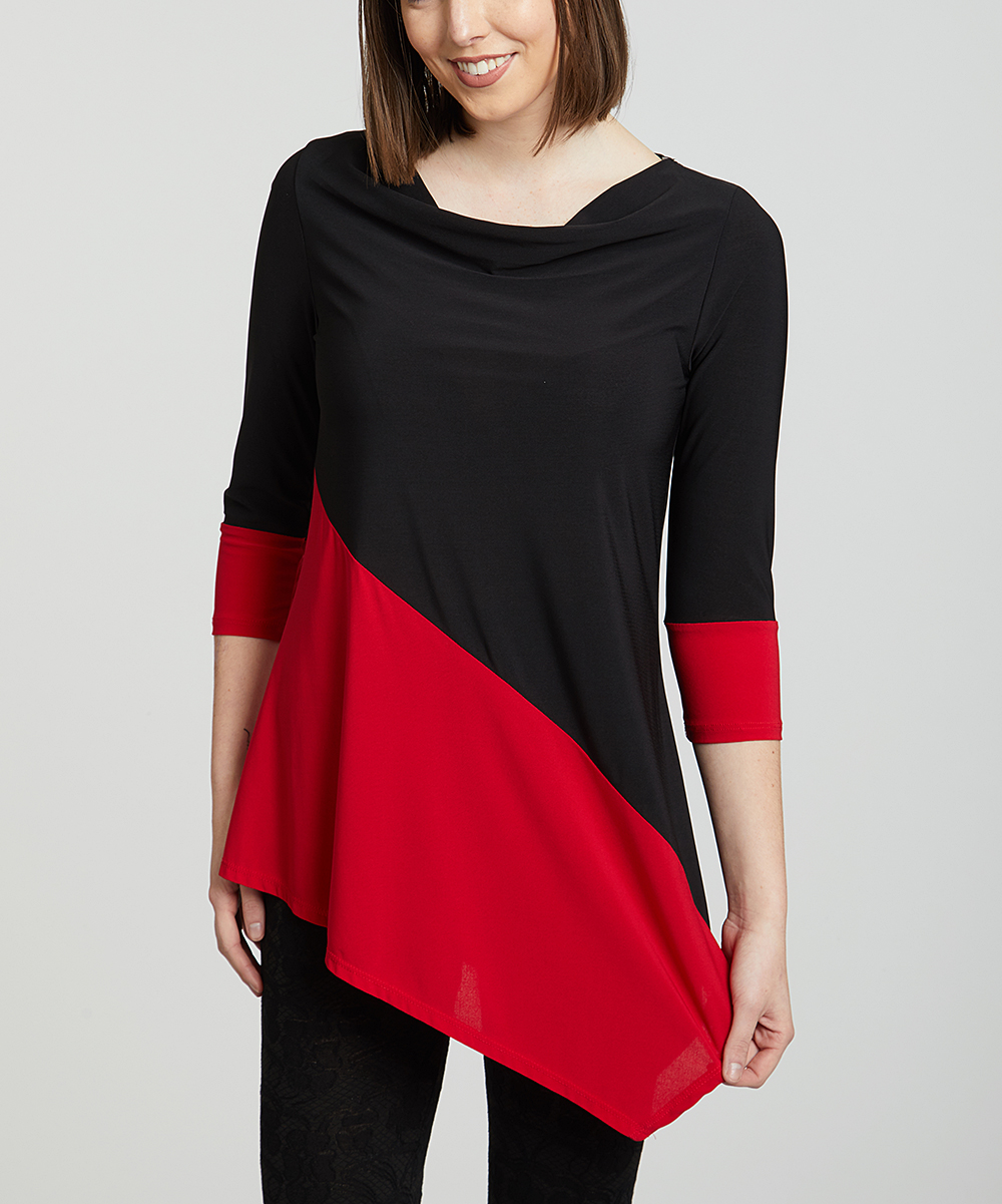 6525e0aa41197 One Fashion by Cozy Collection Black   Red Color Block Asymmetrical ...