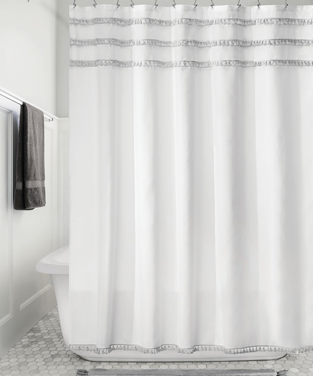 Idesign White Gray Tassel Shower Curtain Zulily