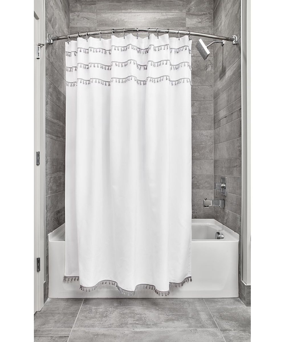 IDesign White Gray Tassel Shower Curtain