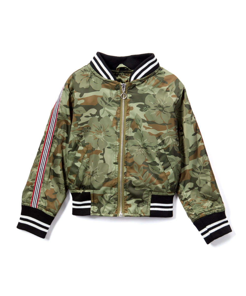 ecea1624e Urban Republic Green Hibiscus Camo Bomber Jacket - Girls