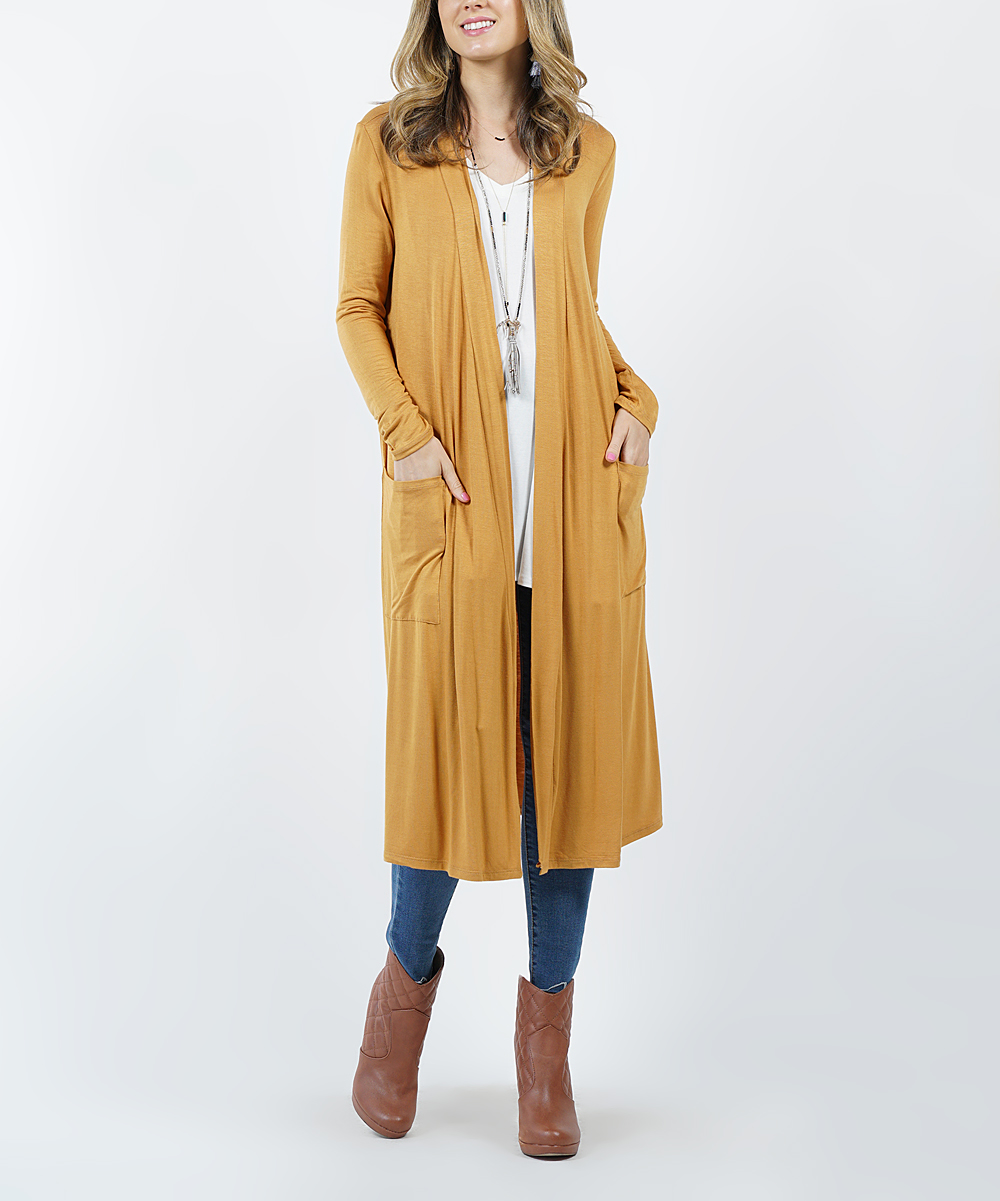 944209c9db6 Dark Mustard Long-Sleeve Mid-Length Slouchy Pocket Cardigan - Women