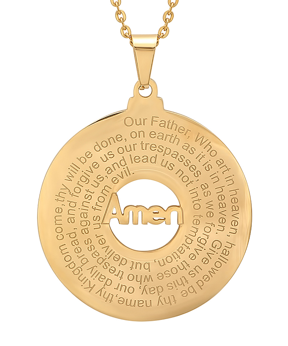 246e4731405 love this product 18K Gold-Plated 'Our Father' Round Pendant Necklace