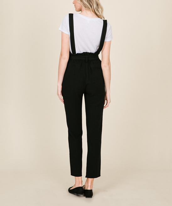 ed699acfed0 ... Womens BLACK Black Linen-Blend Suspender Jumpsuit - Alternate Image 4  ...