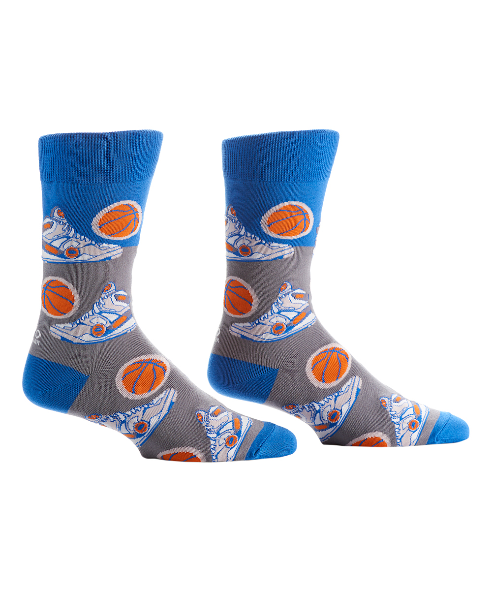 Blue & Gray Basketball Crew Socks - Men Blue & Gray Basketball Crew Socks - Men. Whether you're lounging around, heading to the office or running errands, these vibrant socks add a pop of personality to your strides.