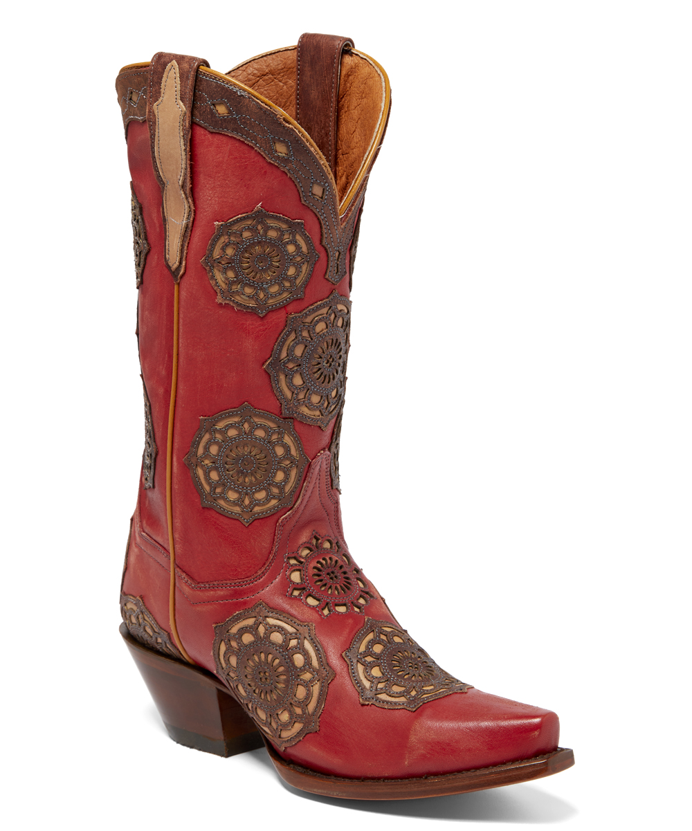 c504fca011e Dan Post Red & Brown Circus Flower Leather Cowboy Boot - Women