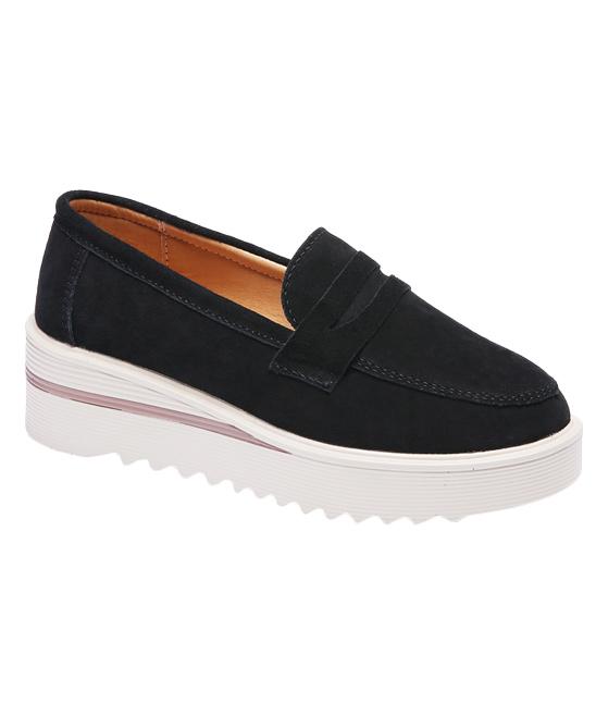 e5cf6378c06 Miracle Black Suede Platform Loafer - Women