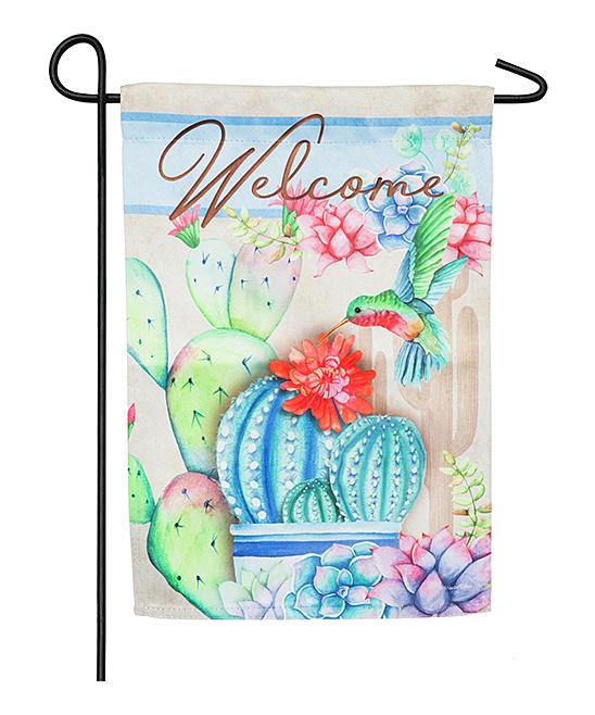 'Welcome' Hummingbird & Cactus Outdoor Flag