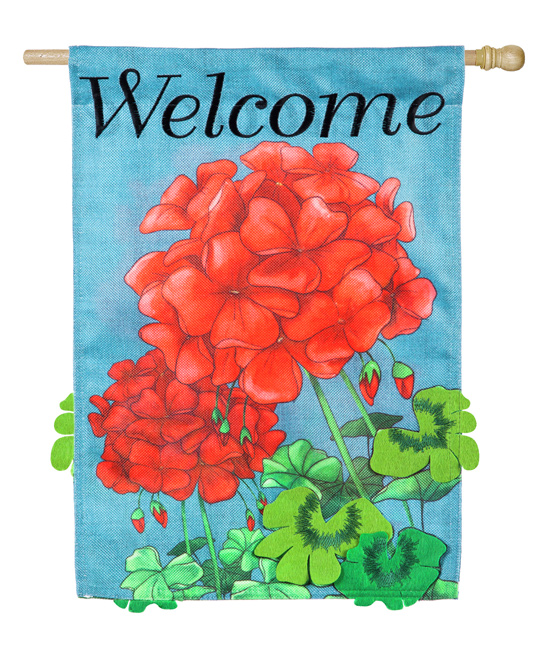'Welcome' Geranium Burlap Outdoor Flag