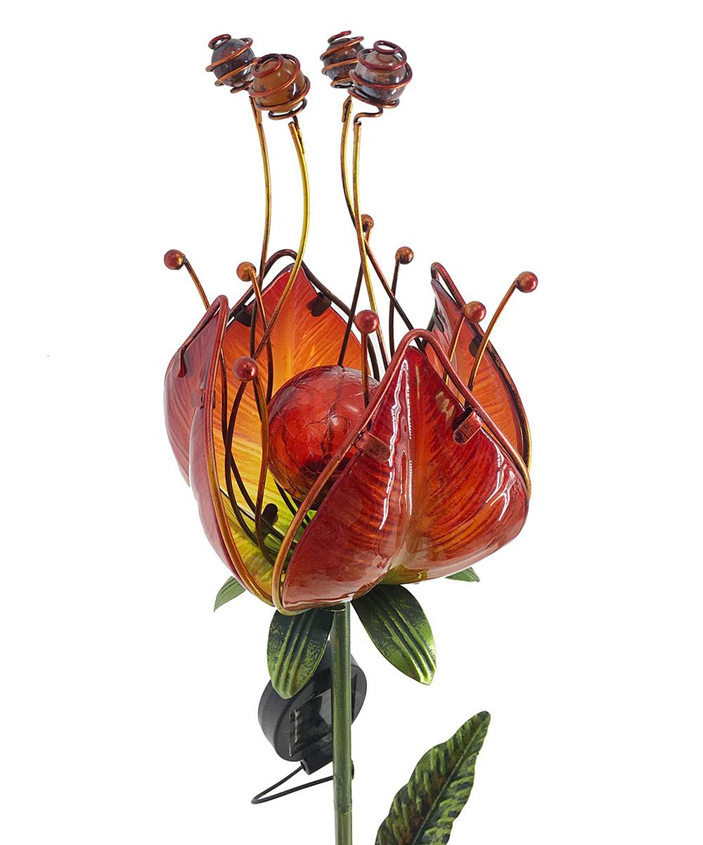 Continental Art  Garden Stakes  - Red Peony Glass Flower Solar Garden Stake