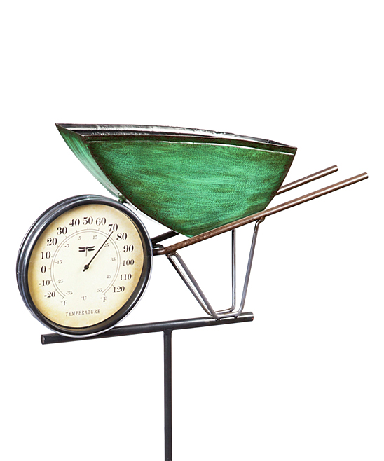 Wheelbarrow Thermometer Stake Wheelbarrow Thermometer Stake. Monitor the temperature at a glance with this colorful thermometer, placed upon a slender stake and made with a farm-themed motif.2.17'' W x 47.24'' HMetalImported