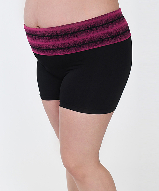 220ee3a78a ... Womens BLK Black & Pink Stripe Seamless Maternity Yoga Shorts - Plus Too  - Alternate Image