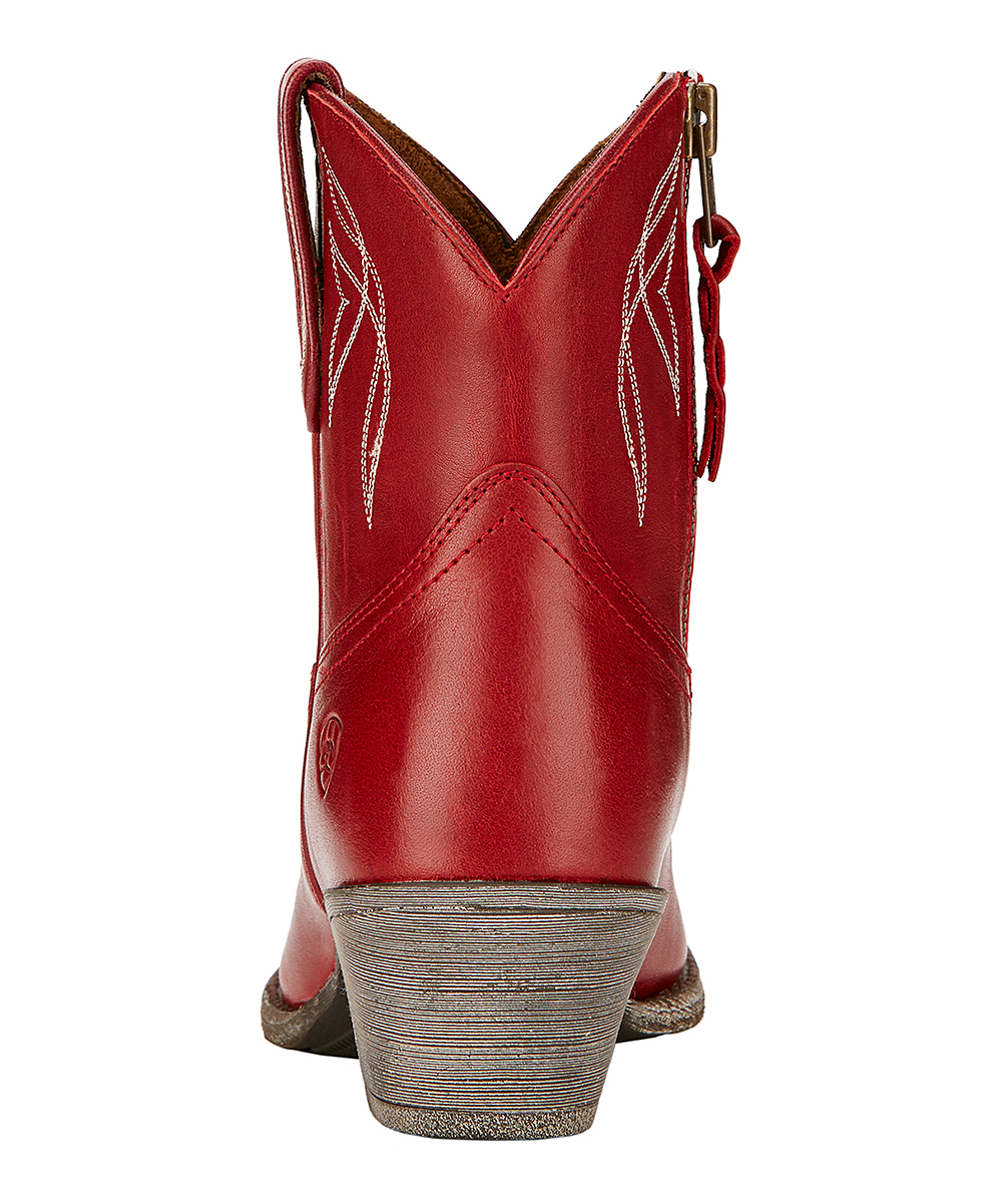 8b1543a7d3ee ... Womens Rosy Red Darlin Short Leather Cowboy Boot - Alternate Image 5
