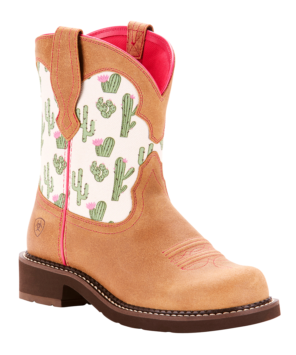 9f37d5f1930 Ariat Sandstone & White Cactus Fat Baby Heritage Short Leather Cowboy Boot  - Women