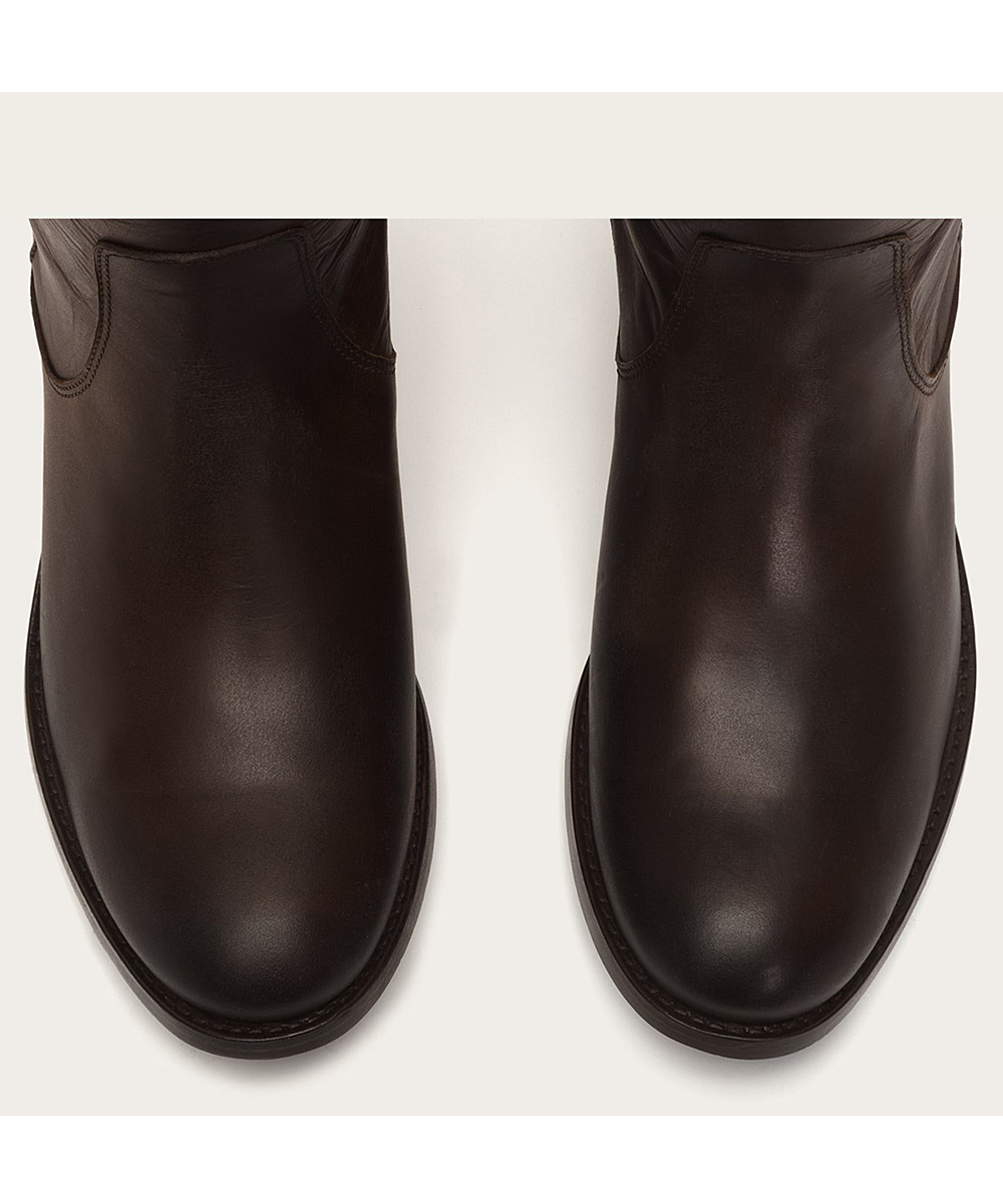 c54de25b75e Frye Chocolate Melissa Stud Back-Zip Leather Boot - Women