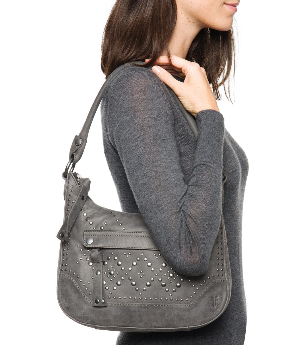 c8f3a4a90a ... Womens Gray Melissa Studded Small Leather Hobo - Alternate Image 4