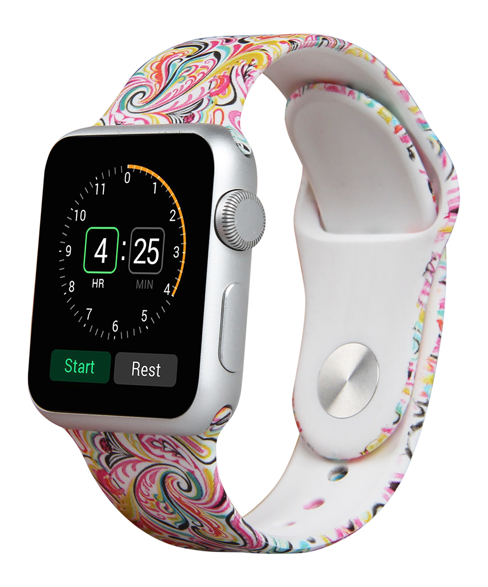 Prime Bands  Replacement Bands Paisley - Pink Paisley Apple Watch Silicone Sport Band