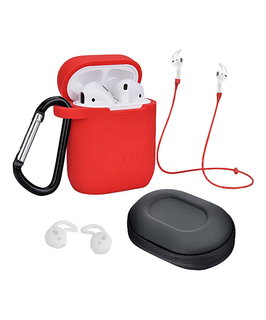 Red Airpod Accessory Set Red Airpod Accessory Set. Enhance your Airpods experience with the help of this accessory set that includes a carrying case to keep them safe, ear hooks that secure them as you wear them and more. Includes case, adjustable strap, ear hooks, carabiner and carrying bagAirpods not includedSiliconeImported