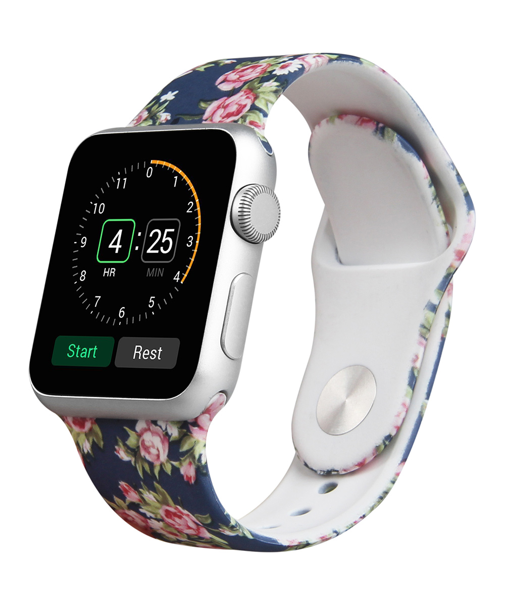 Prime Bands  Replacement Bands Floral - Navy Floral Apple Watch Silicone Sport Band