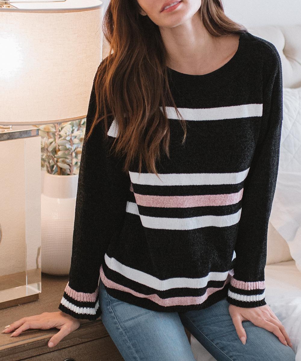 f910fb0b07235 Amaryllis Black   Blush Stripe Boatneck Sweater - Women   Plus