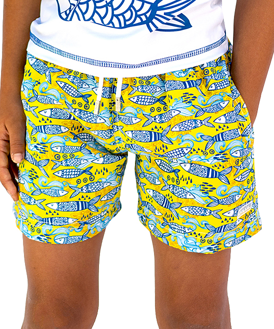 2e4769efdc Azul Swimwear Yellow Portuguese Fish Swim Shorts - Boys   Zulily