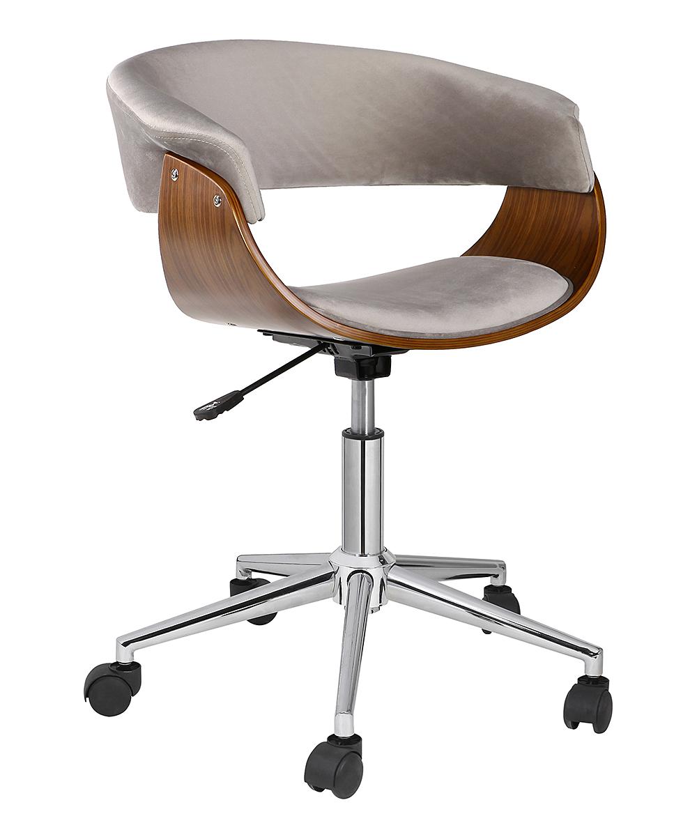 Gray Isla Adjustable-Height Swivel Suede Office Chair