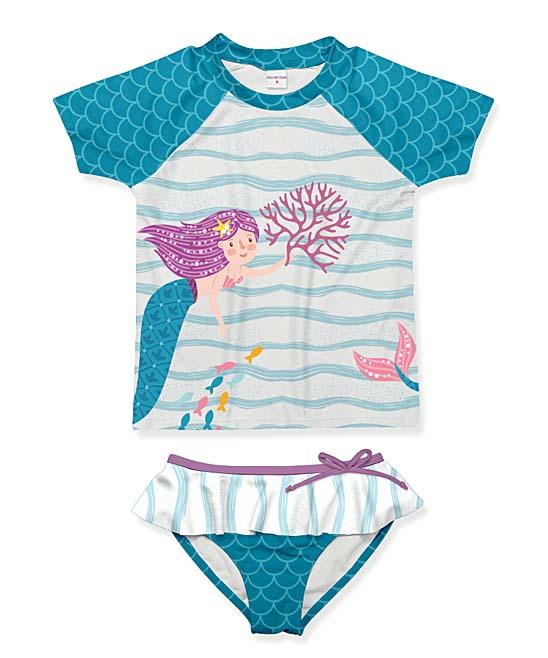 Penelope Plumm Dark Cyan & Teal Mermaid Scales Short-Sleeve Rashguard Set -  Toddler & Girls