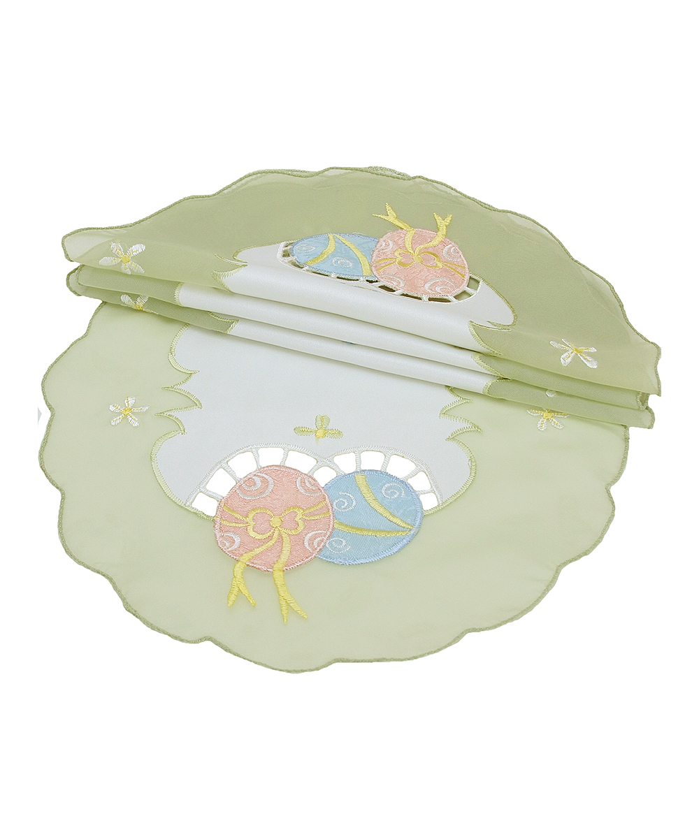 Xia Home Fashions  Placemats  - 8'' Green Easter Egg Round Doily - Set of Four