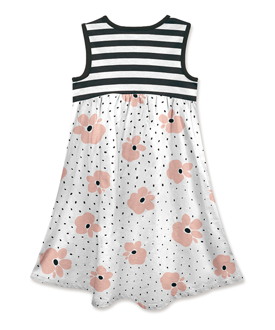 2bf33bb306304 ... Girls Black   White Stripe Floral Sleeveless Babydoll Dress - Alternate  Image 2