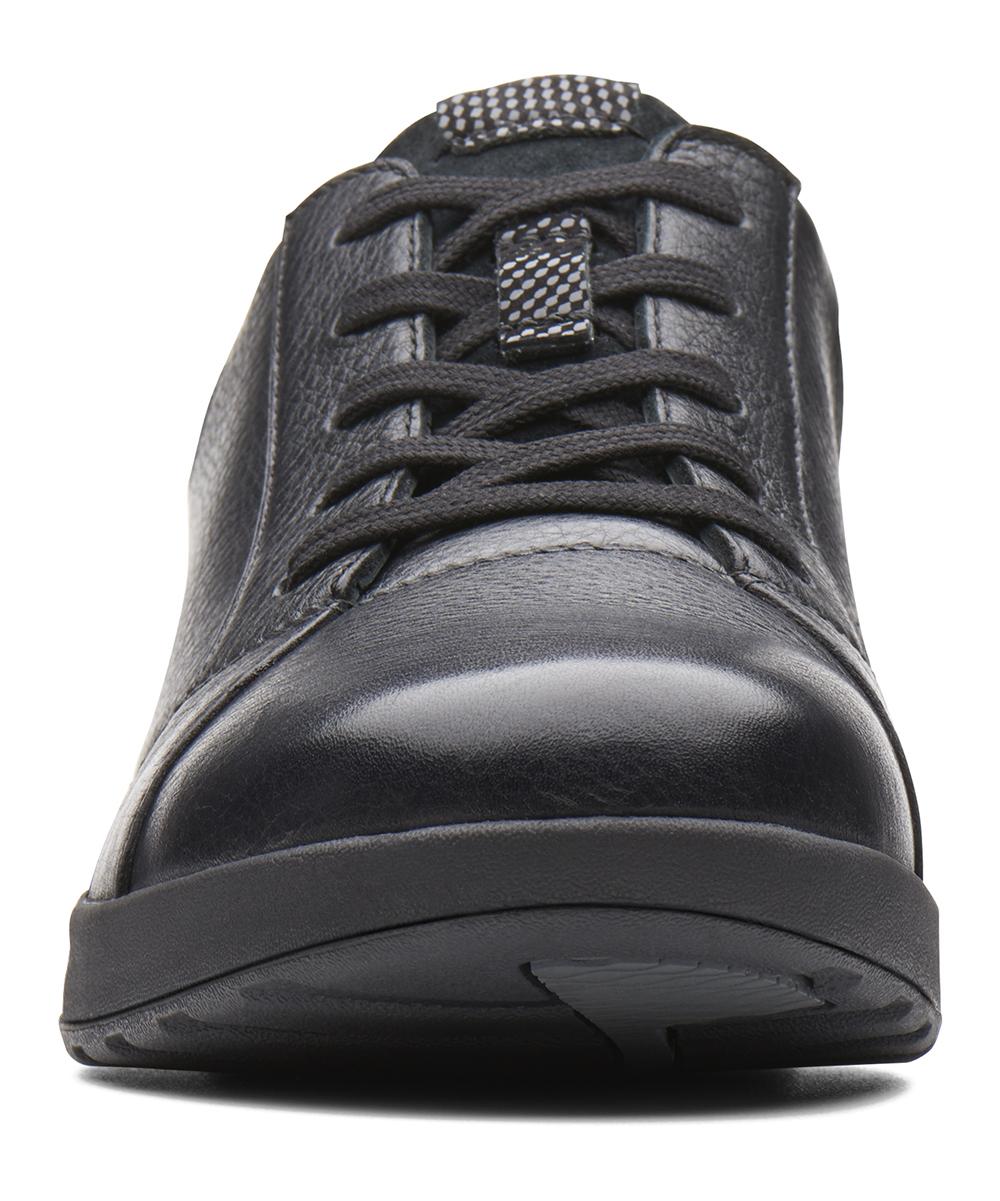 fede5c35e054af ... Womens Black Comb Black Un Adorn Lace Leather Sneaker - Alternate Image  3 ...